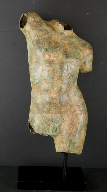 10: PATINATED METAL SCULTPURE OF A MALE TORSO