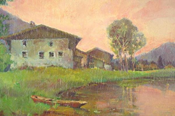 11: LANDSCAPE PAINTING WITH PINK SKY SIGNED STECHER