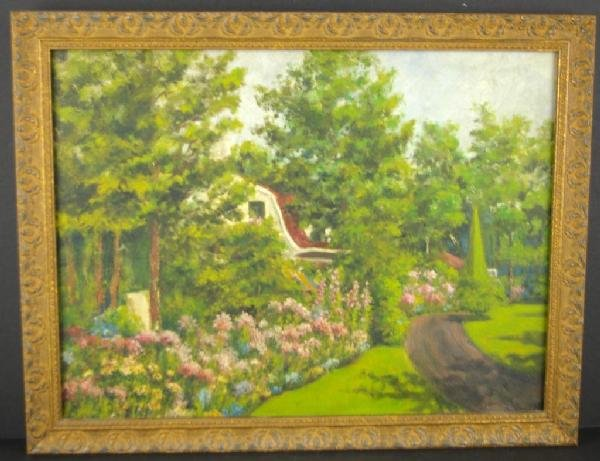 16: TWO HOUSESCAPE PAINTINGS IN FLORAL LANDSCAPES