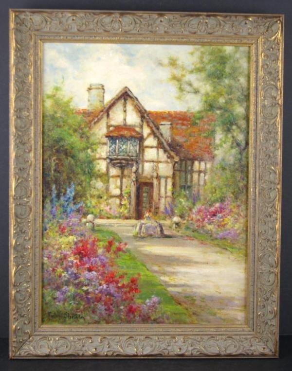 17: COTTAGE SCENE PAINTING SIGNED PHILIP STECHER