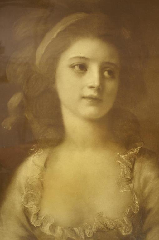 23: PRINT OF A YOUNG BEAUTY IN RUFFLED DRESS, 20x16in.