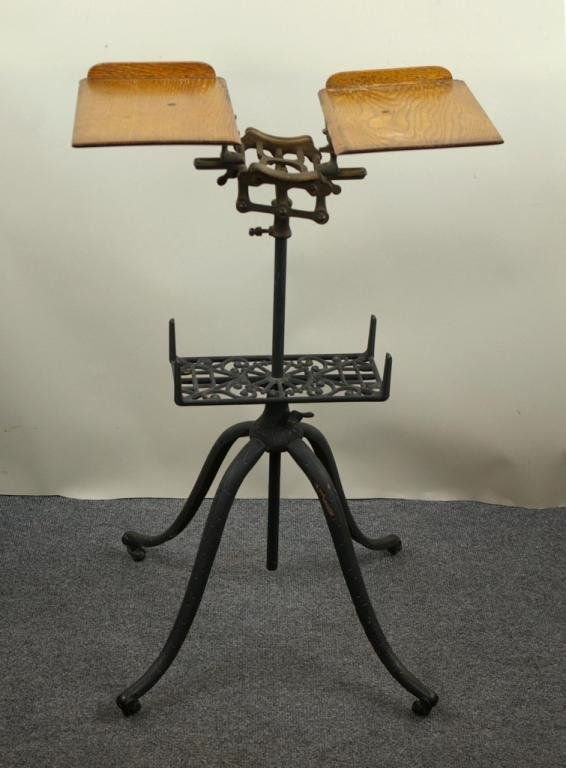 antique iron and oak book stand