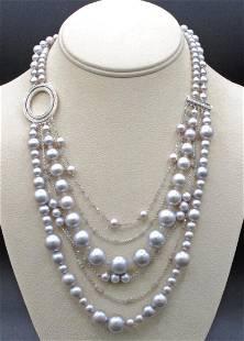 IVANKA TRUMP GRAY PEARL & DIAMOND NECKLACE