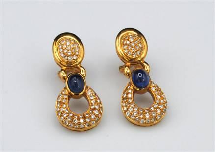 ITALIAN 18K DIAMOND & SAPPHIRE PENDANT EARRINGS