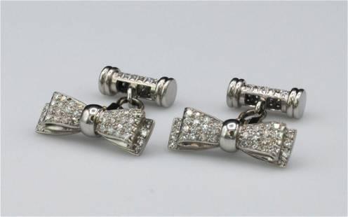 PAIR PLATINUM & DIAMOND BOW TIE FORM CUFFLINKS