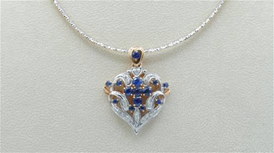 SAPPHIRE & DIAMOND PENDANT WITH REVERSIBLE CHOKER