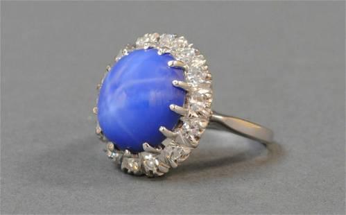 14K LINDY STAR SAPPHIRE & DIAMOND HALO RING