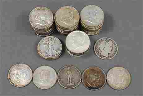 (59) US SILVER HALF DOLLAR COINS - INCL. COMMEMORATIVES