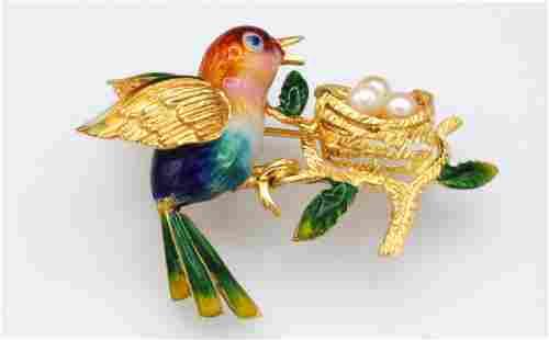 ITALIAN 18K ENAMEL & PEARL BIRD PIN
