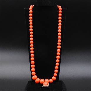 VINTAGE SALMON CORAL BEAD NECKLACE WITH 14K CLASP