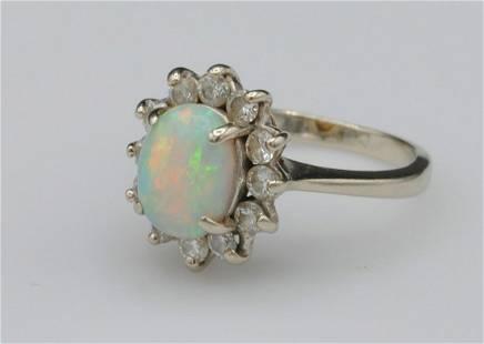 14K OPAL & DIAMOND HALO RING