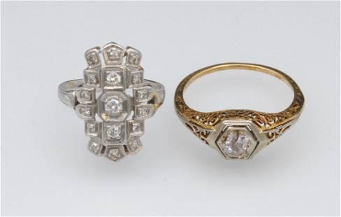 (2) ART DECO FILIGREE DIAMOND RINGS