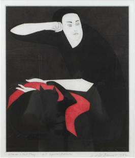 WILL BARNET ETCHING - WOMAN & CAT PLAY