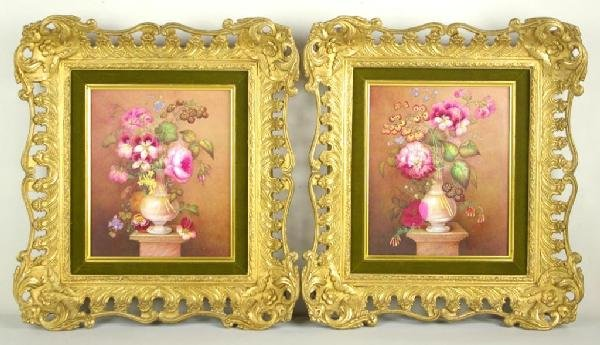 5: PAIR OF HAND-PAINTED PORCELAIN PLAQUES heightened wi