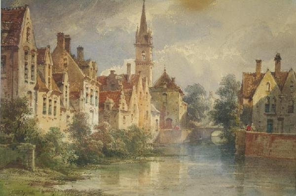 """7: PIERRE JUSTIN OUVRIE (French, 1806-1879) """"Canal Scen"""