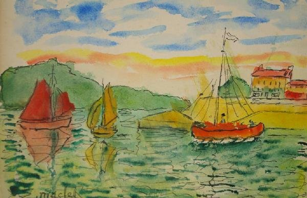 """8: ELISEE MACLET (French, 1881-1962) """"Harbor Scene with"""