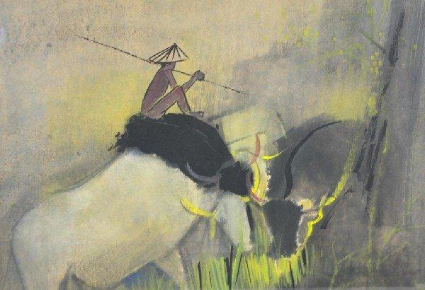 "9: TAY BAK KOI (Singapore, b.1939) ""Fisherman on Buffal"