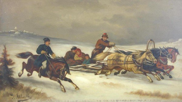 13: OIL ON WOOD PANEL SIGNED ALBERTIS depicting horse-d