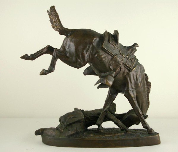 14: BRONZE AFTER FREDERICK REMINGTON, WICKED PONY brown