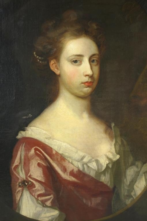 16: PORTRAIT PAINTING OF A YOUNG LADY bust-length, labe