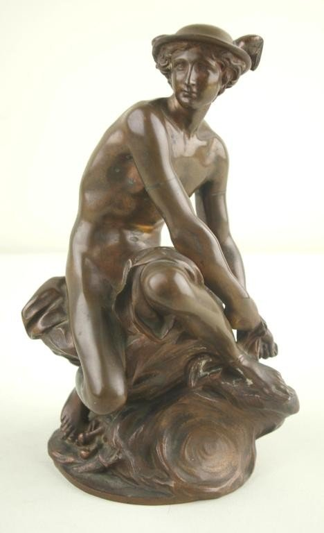 17: FRENCH BRONZE FIGURE OF MERCURY after Jean-Baptiste