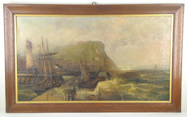 18: 19THC. COASTAL CLIFF SCENE PAINTING possibly the Wh
