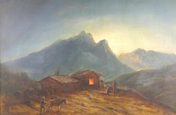 19: MOUNTAINSCAPE PAINTING OF FIGURES BY CABIN oil on c
