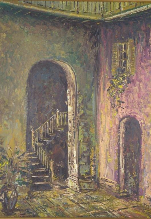 "21: KIRBY ROGERE (American, 1929-2006) ""Courtyard"", oil"