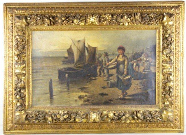 13: OIL ON CANVAS SHORE SCENE, NORWEGIAN COAST depictin