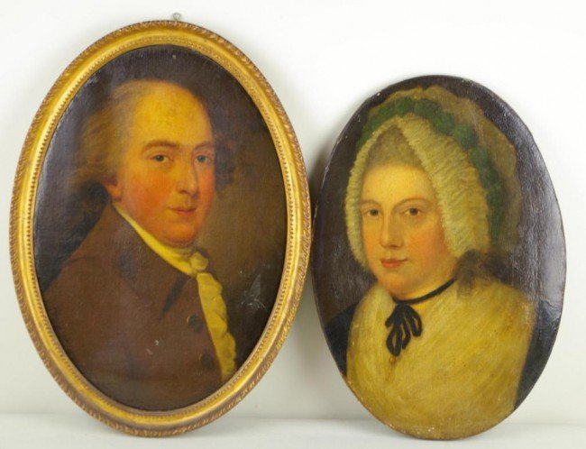 20: PAIR OF BUST PORTRAIT PAINTINGS possibly John and A