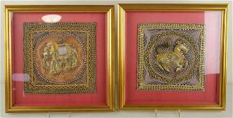 87: PAIR OF FRAMED BEADED TEXTILES including one depict