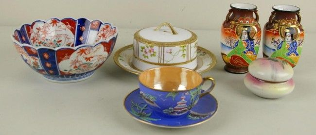 327: 6-PIECE CERAMIC GROUP including a Nippon cheese or