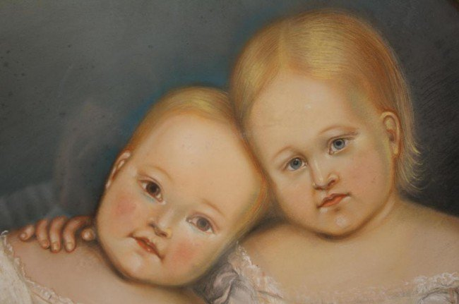 16: VICTORIAN PASTEL PORTRAIT OF TWO YOUNG CHILDREN dep
