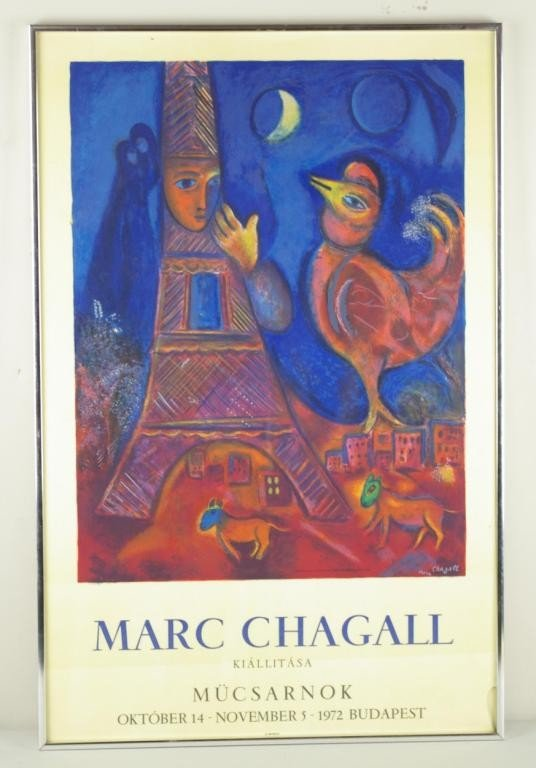 20: MARC CHAGALL BONJOUR PARIS LITHOGRAPH signed in pla