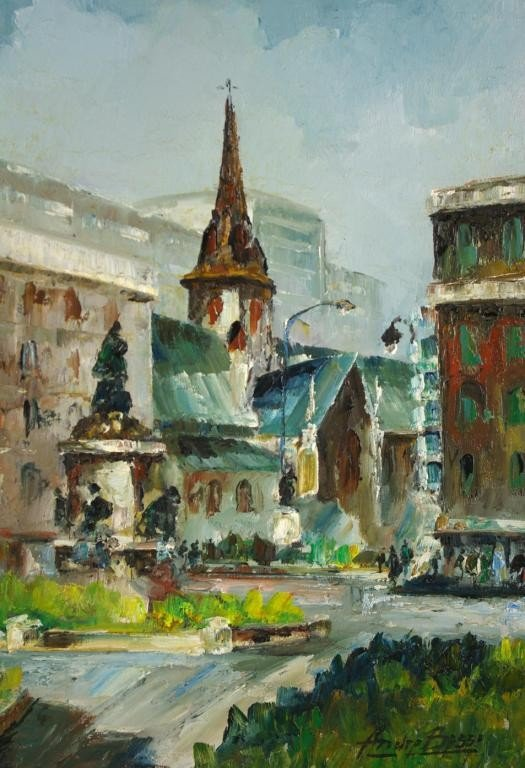 "24: ANDRE BESSE (Canadian, 1922-) ""Phillips Square, Mon"