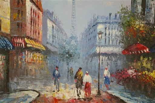 31: PARIS STREET SCENE PAINTING SIGNED BURNETT oil on c