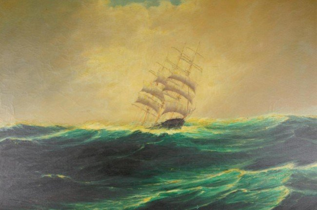 VINTAGE SEASCAPE SHIP PAINTING OF LARGE SIZE