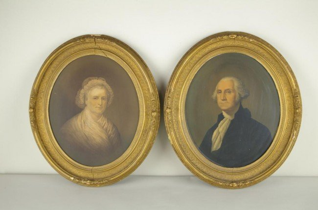 PAIR OF GEORGE & MARTHA WASHINGTON PRINTS