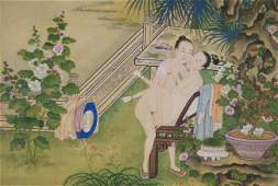 CHINESE EROTICA WATERCOLOR PAINTING ON SILK