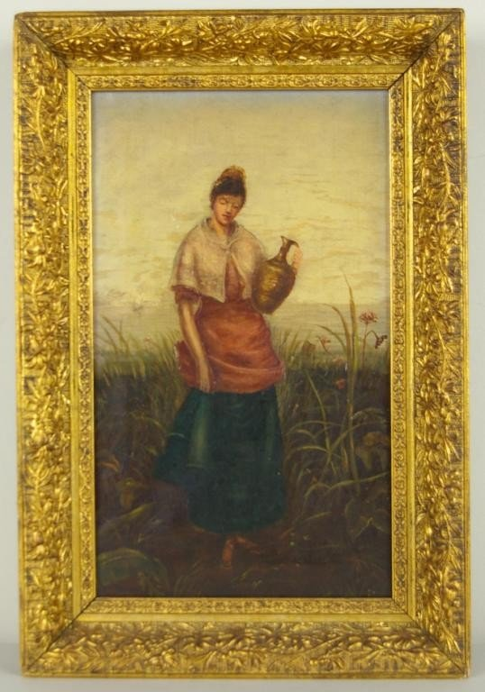 17: VICTORIAN PAINTING, WOMAN WITH JUG