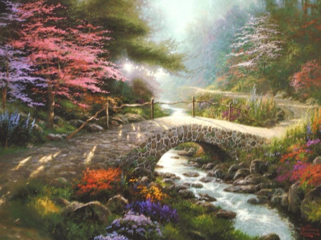 197: THOMAS KINKADE BRIDGE OF FAITH OFFSET PRINT