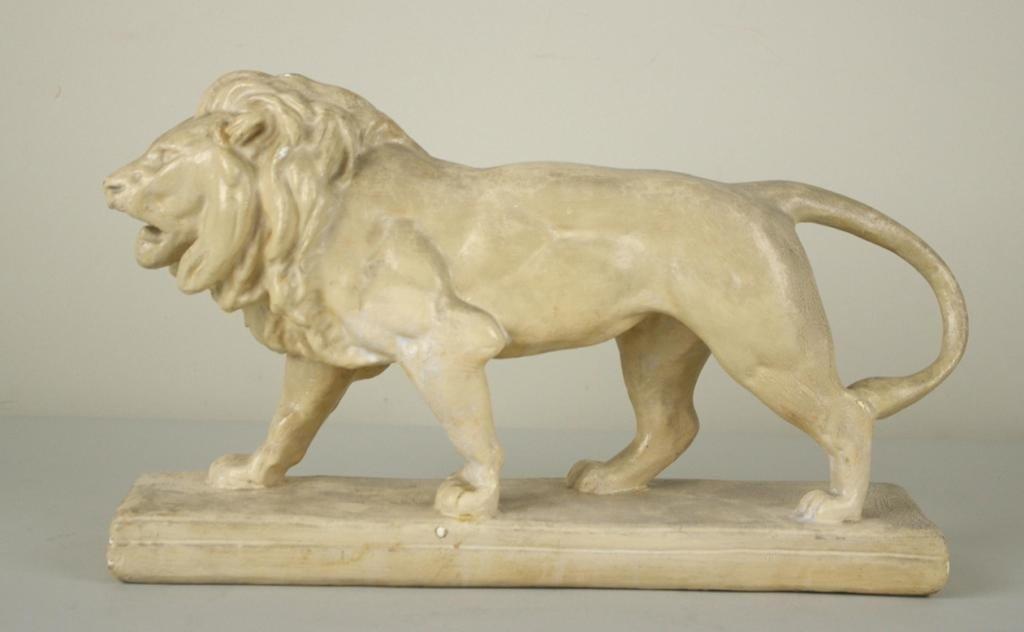 16: MOLDED CHALK LION SCULPTURE AFTER BARYE