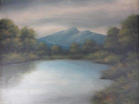 15: AMERICAN SCHOOL, ADIRONDACK VIEW, SIGNED T. BAILEY