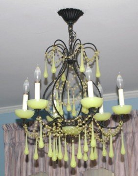 109: 5-LIGHT CHANDELIER WITH OPALESCENT DROPS & BEADING