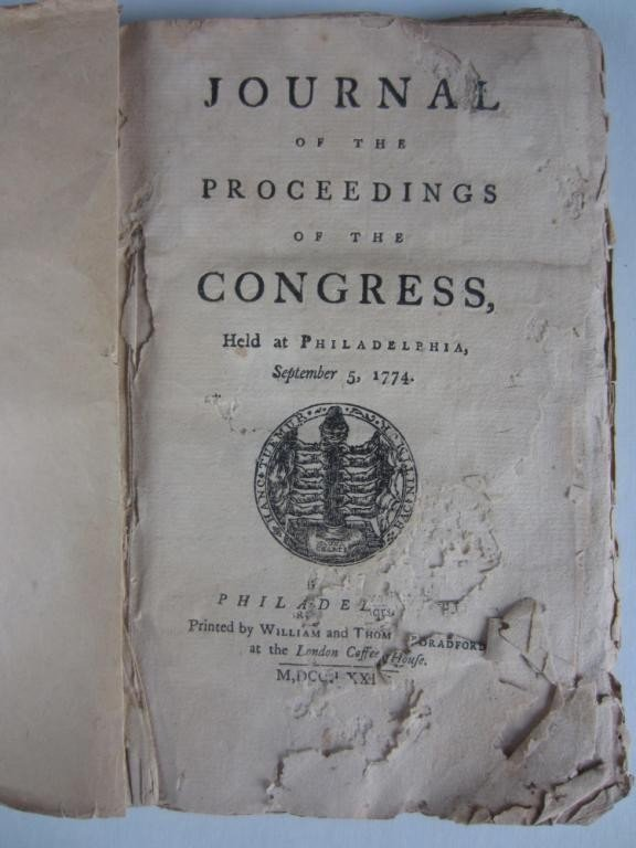 4: JOURNAL OF THE PROCEEDINGS OF THE CONGRESS – 1774