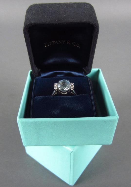 140: AQUAMARINE AND DIAMOND RING, BY TIFFANY & CO.