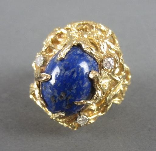 142: LAPIS DINNER RING WITH DIAMOND ACCENTS