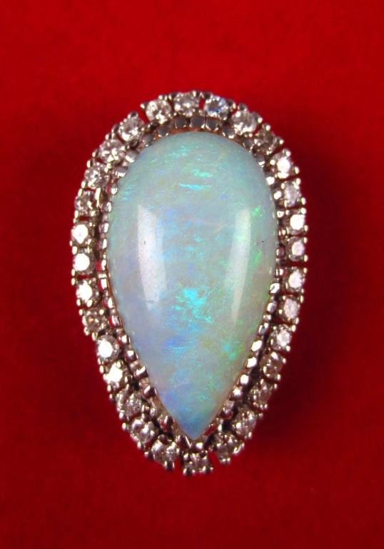 147: LARGE OPAL AND DIAMOND PENDANT