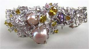 179: PEARL AND YELLOW DIAMOND BRACELET, BY ARTHUR KING