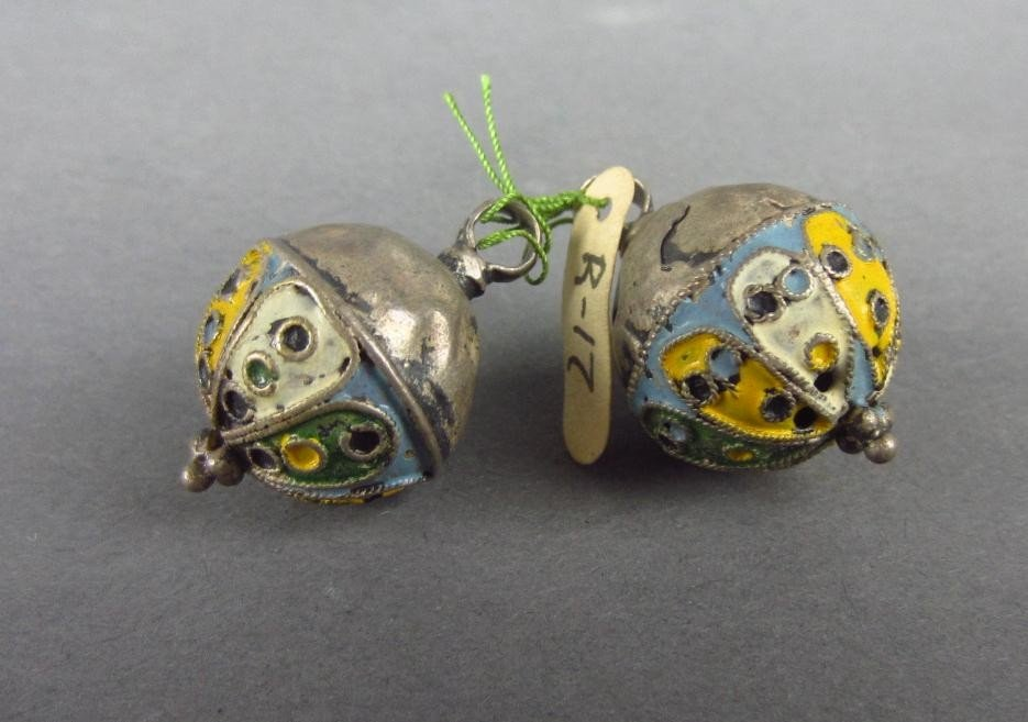 10: TWO SILVER ENAMEL BUTTONS, 17TH CENTURY